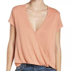 Free People Hoffman Surplice Coral Top Size XS
